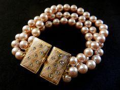 ArtDeco Vintage Italian 1960  3 strands  pearls by RAKcreations