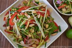 Thai green mango salad (Som Tum Mamuang) is a delicious and healthy salad. This salad has an interesting balance of salty, spicy, sweet and sour dressing. The main ingredient is green Mango (unripe mango). Mango Recipes, Veg Recipes, Salad Recipes, Cooking Recipes, Green Apple Salad, Green Mango Salad, Indian Dessert Recipes, Thai Cooking, Cabbage Salad