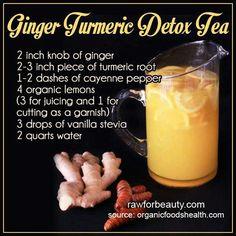 Ginger Turmeric Detox Tea #healthy smoothies