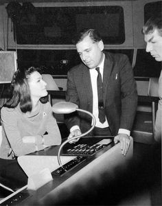 Leonard Nemoy as Spock, Gene Roddenberry, and Majel Barrett as Number One during the shooting of the pilot episode for Star Trek: The Original Series.
