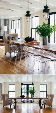 Ghost Chairs + Wood Table
