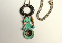 Hammered Turquoise Necklace Copper Patina Metal by ATouchofRomance, $24.50