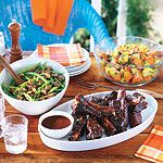 Steak House Beef Ribs with Stout Barbecue Sauce—Slow-roasting ribs in the oven before finishing them on the grill makes them fall-from-the-bone tender. Bbq Beef Ribs, Beef Back Ribs, Lamb Ribs, How To Cook Ribs, How To Cook Shrimp, Rib Recipes, Cooking Recipes, Cooking Roast Beef, Cooking Ribs
