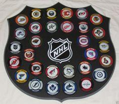 "HOCKEY PUCKS ALL 30 NHL TEAMS Complete Set ""Retro"" WITH WALL MOUNT DISPLAY BOARD #LosAngelesKings"