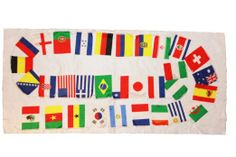 """1 Set Of 32 SMALL Country Flag FIFA Soccer World Cup .. Flag Size 6"""" x 8 1/4"""" Inches .. New"""
