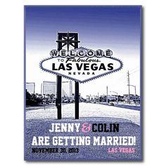 Vintage Las Vegas Wedding Photo Save The Date Postcards