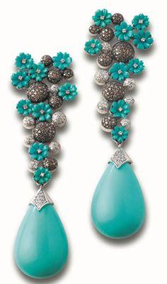 Minawala, carved turquoise ear pendants