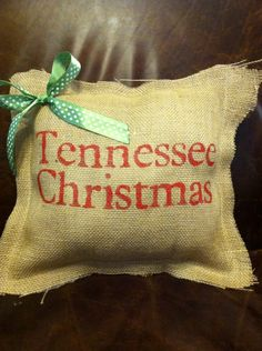 Items similar to Personalized Tennessee Christmas Burlap Pillow on Etsy Tennessee Girls, East Tennessee, Christmas Holidays, Christmas Decor, Christmas Ideas, Merry Christmas, Burlap Door Hangers, Burlap Projects, Burlap Pillows