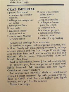 Crab Imperial from an estate sale pile of recipes- … - seafood recipes Restaurant Recipes, Seafood Recipes, Appetizer Recipes, Cooking Recipes, Appetizers, Crab Cake Recipes, Salmon Recipes, Lump Crab Meat Recipes, Rockfish Recipes