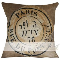 Lovely tans and sepias grace this Parisian French pillow, which features an antique stamp and postmark on a burlap textured background. Fits