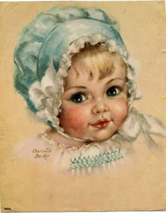 Vintage Illustration Charlotte Becker - Baby with Bonnet Baby Images, Children Images, Baby Pictures, Images Vintage, Vintage Pictures, Vintage Greeting Cards, Vintage Postcards, Baby Illustration, Retro Kids