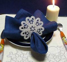 Advanced Embroidery Designs - FSL Battenberg Snowflake Napkin Ring Lace Set