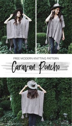 Poncho weather is my favorite weather. There is nothing better than that perfect temperature where there's just enough chill in the air to need a layer of knits but not too much that you need a coat. Knitting Machine Patterns, Poncho Knitting Patterns, Knitted Poncho, Knitted Shawls, Crochet Scarves, Crochet Shawl, Knit Patterns, Crochet Clothes, Free Knitting