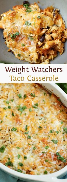WW taco casserole 2 cups cooked chicken or chicken substitute (like bell packet taco seasoning + cup cup low-fat tortilla chips, crushed and cup nonfat sour cup shredded monterey cup can black beans Low Calorie Recipes, Ww Recipes, Mexican Food Recipes, Cooking Recipes, Healthy Recipes, Recipies, Cooking Time, Low Calorie Chicken Recipes, Low Fat Dinner Recipes