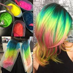 guy tang…ALREADY posted this tutorial of the hair I created for… - All About Hairstyles Dye My Hair, New Hair, Bright Hair Colors, Colorful Hair, Rainbow Colours, Vivid Hair Color, Hair Colours, Hair Color Techniques, Coloured Hair
