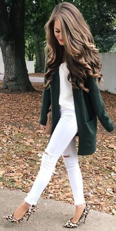 #fall #trending #outfits | Green Cardi + All White + Pop Of Leo