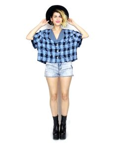 90s Grunge Plaid Cropped Blouse Slouchy Plus Size by honeymoonmuse, $30.00