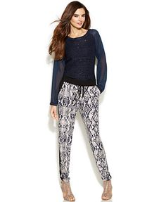 INC International Concepts Illusion-Sleeve Sequin Sweater & Printed Jogger Pants