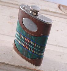 Green Plaid 8 oz. Flask