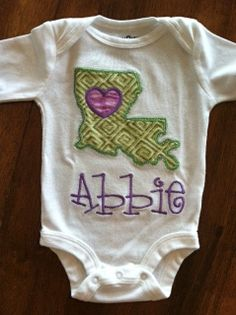 Personalized Louisiana Love Onesie or TShirt by tresbienboutique, $18.00
