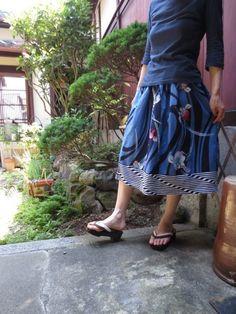 粋な菖蒲に裾ボーダーパッチde浴衣リメイクスカート♪72㎝丈 | iichi(いいち)| ハンドメイド・クラフト・手仕事品の販売・購入