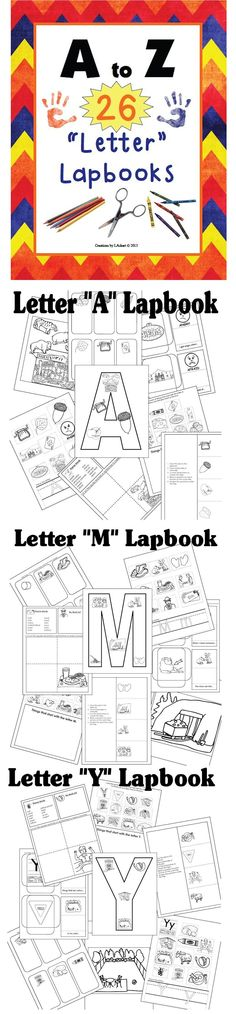 "A-Z 26 ""Letter"" Lapbooks (209 pg download) (4 photos) Here's a full year of lapbook and letter learning FUN! @ http://www.christianhomeschoolhub.spruz.com/teaching-methods---lapbooking-notebooking-etc.htm"