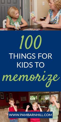 100 Things to Memorize: Memory Work for Homeschool