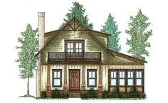 <!-- Generated by XStandard version 2.0.0.0 on 2013-04-30T14:42:08 --><ul><li>This cute cottage house plan features a fairly large ' bedroom on the main floor, and two beds plus a bunk room upstairs. You can fit a lot of guests in this home, which is great for year-round and vacation use.</li><li>There are two porches in the front, each giving you 190 square feet of space to enjoy the views. The one upstairs makes Bed 2 a very desirable room, indeed.<...