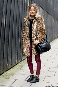 Oxblood skinny with black and leopard