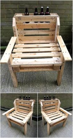 Wood Pallets Creative Creations by Pallet Brighton Pallet Patio Furniture, Pallet Chair, Diy Chair, Bar Furniture, Furniture Projects, Kellys Furniture, Furniture Plans, Furniture Making, Old Pallets