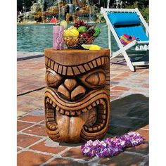 Toscano, DB383075, Outdoor Tables, Toscano Db383075 Lono Grand Tiki God Table