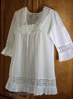 Kıyafet seçenekleri NEW Large Beach White Crochet Lace Long Casual Blouse Shirt Tunic Boho Top Boho Tops, Lace Tops, Top Boho, Kurta Designs, Blouse Designs, Frock Fashion, Dress Sewing Patterns, Blouse Styles, Crochet Clothes