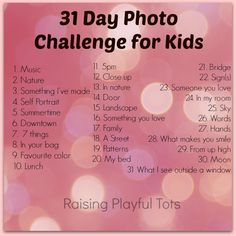 Starts July 1st. Kids photo challenge. Come join in - fun summer project for the kids!