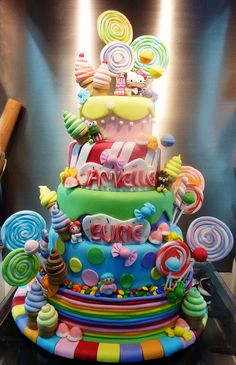 Candyland-Hello Kitty Cake- My Fav Pretty Cakes, Beautiful Cakes, Amazing Cakes, Candy Birthday Cakes, Candy Cakes, Cupcakes, Cupcake Cakes, Vanellope Y Ralph, Chocolates
