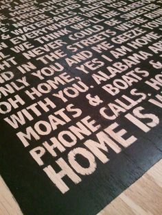 you know you love a song when it's words are on your rug
