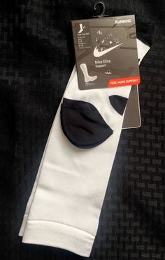 New Nike Elite Support Running Socks Over Calf M Mens 6-8 Womens 6-10 $55 White #Nike