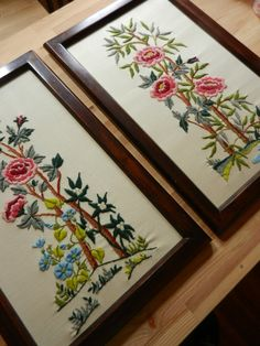 Pair of Framed Crewel Embroidery Flower Panels by PickleRose, $42.00