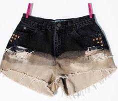 High Waisted Destroyed Ombre Black Studded Denim Shorts