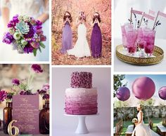 Moodboard - Wedding color palette Radiant orchid / Hochzeit Farbschema Radiant Orchid (Pantone 2014)