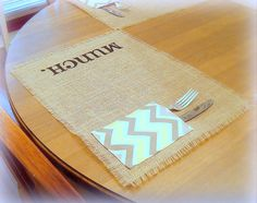 Burlap Placemats / Chevron Utencil Pocket by TheBirchTreeShop