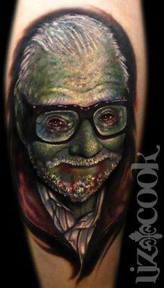 George Romero Zombie Portrait, by Liz Cook at Rebel Muse Tattoo Studio in Dallas, TX, lizcooktattoo.com