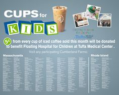 5 cents of every cup of iced coffee sold at Cumberland Farms in August will benefit Tufts Medical Center.