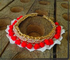 """Flames on Ice"", statement necklace"