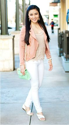 love this look for Sping & Summer - white + peach + mint = perfect date night color combo!
