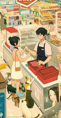 Anime illustration ~ grocery shoppin' w/ cats Pretty Art, Cute Art, Animes Wallpapers, Cute Wallpapers, Aesthetic Art, Aesthetic Anime, Aesthetic Drawing, Japanese Aesthetic, Dibujos Cute