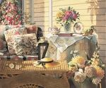Porches, tea and beautiful flowers...painted by Sandy Clough