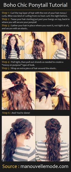 The Boho Chic Ponytail | Beauty Tutorials ° I would make sure that,  the hair above the ponytail and over the teased hair, the curls were finger brushed. The messy curled hair in the ponytail.