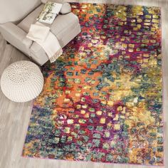 Safavieh Monaco Abstract Watercolor Pink/ Multi Rug (6'7 x 6'7) , Size 7' x 7'