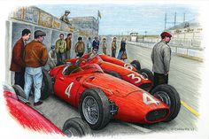 """The blue dress   Jean Behra and Maserati engineer Giulio Alfieri discuss race strategy while teammate Cesare Perdisa tries his Maserati 250F out for size at the 1956 French Grand Prix in Reims.  Pencil, pen & ink and markers on 15""""x 10"""" archival watercolour paper. © Paul Chenard 2017  Original art available as are limited editions."""