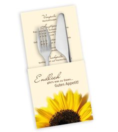 menükarten sonnenblumen hochzeit - Google-Suche